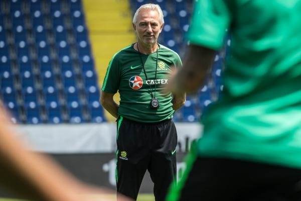 Bert van Marwijk keeps a close eye on proceedings.