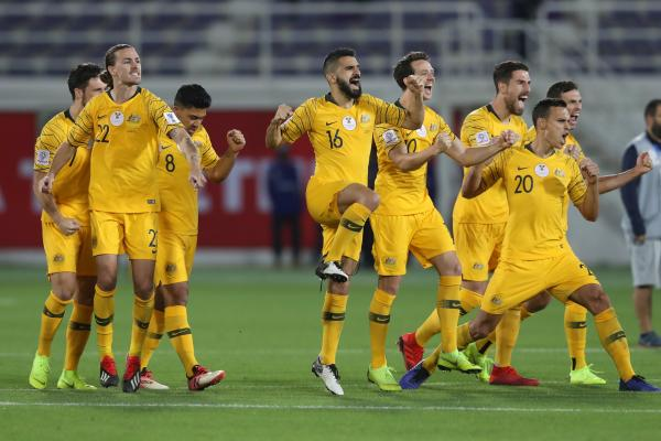 Socceroos celebrate in the shootout