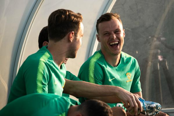 Brad Smith shares a joke with Adam Taggart after training in Dubai