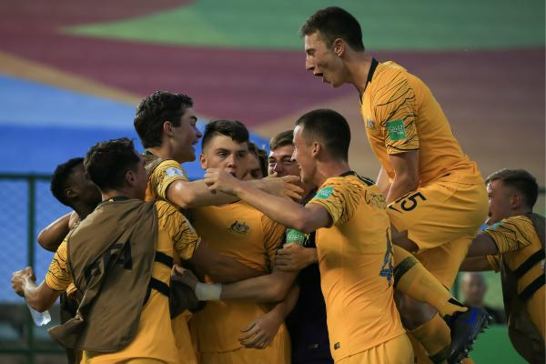 Joeys celebrate a goal against Nigeria