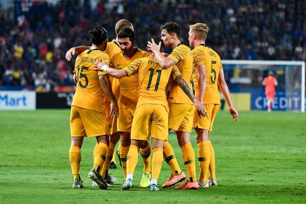 U-23's celebrate v Thailand