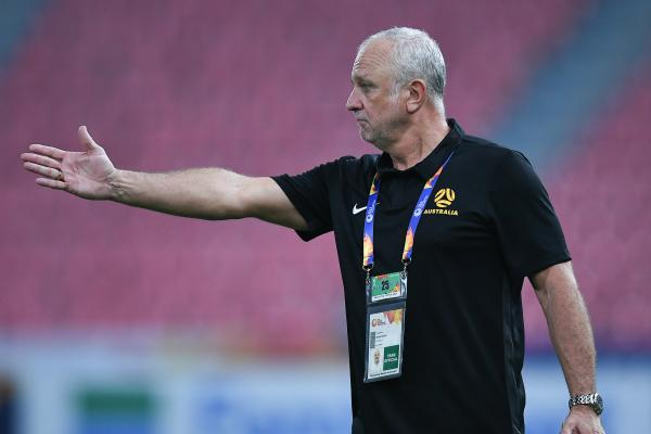 Coach Graham Arnold issues instructions during the win over Syria