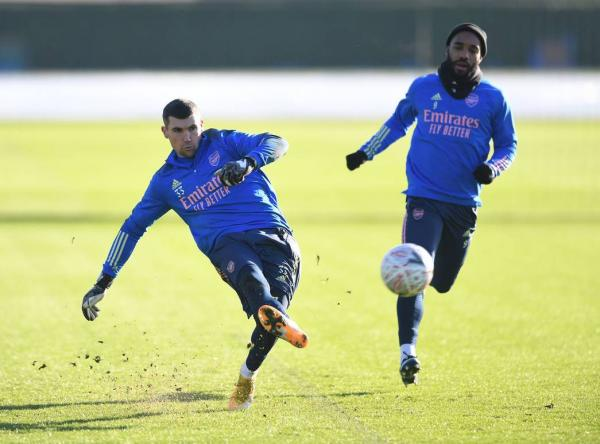 Maty Ryan in his first Arsenal training session