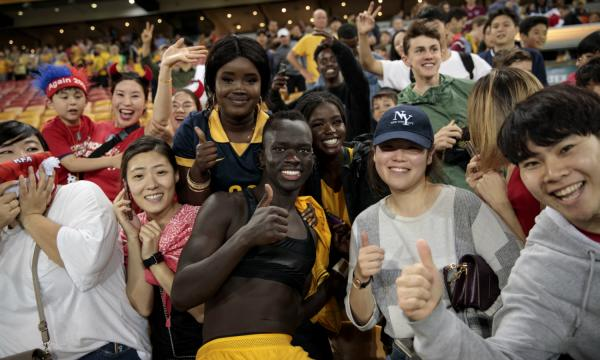 Awer Mabil and Socceroos fans