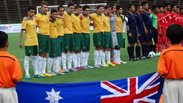The Joeys sing the national anthem ahead of their recent clash with Myanmar.