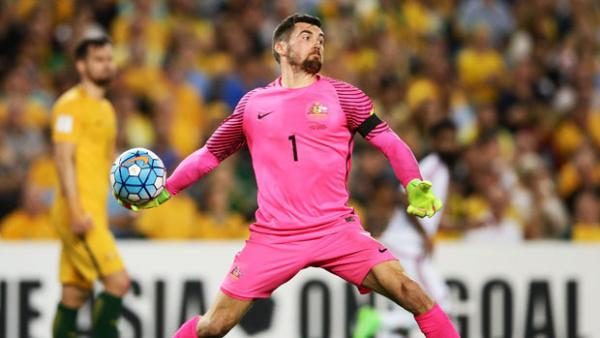 Mat Ryan made some crucial stops in Australia's 2-0 win over UAE on Tuesday night.