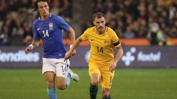 James Troisi on the ball during Australia's 4-0 loss to Brazil.