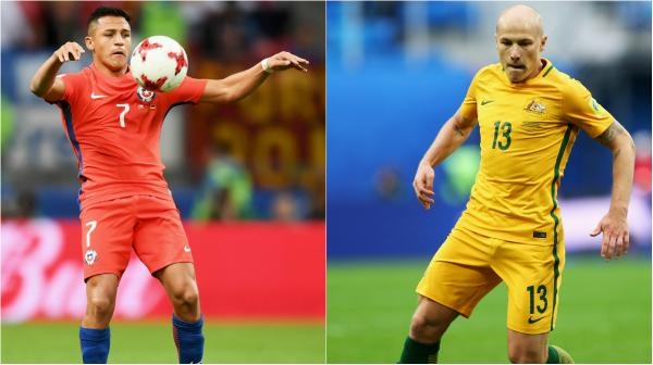 Chile superstar Alexis Sanchez and Caltex Socceroos midfielder Aaron Mooy.