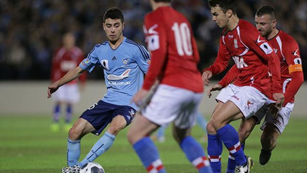Christopher Naumoff in action for Sydney FC against Sydney United 58 FC.