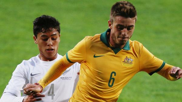 Liam Rose in action for the Young Socceroos.