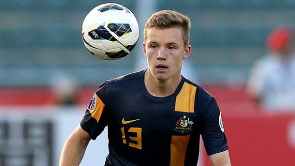 Scott Galloway in action for the Young Socceroos at the AFC U-22 Championship.