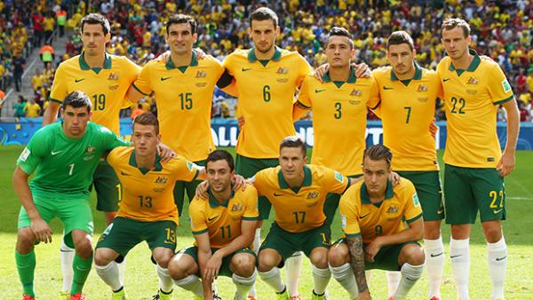 The Socceroos starting XI against Spain at the World Cup prior to kick off.