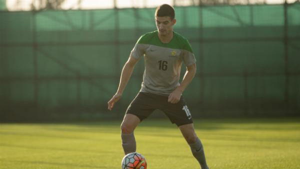 Olyroos midfielder Steven Ugarkovic traps the ball during training in Qatar.