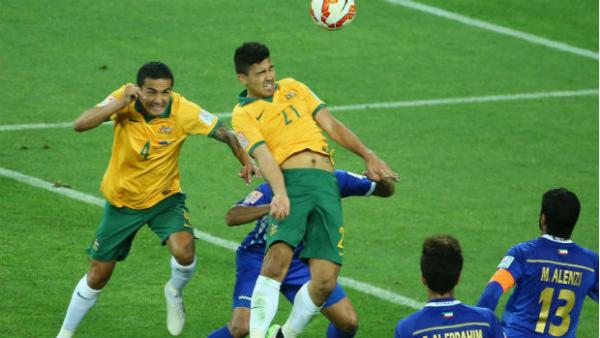 Massimo Luongo flies high to give the Socceroos the lead against Kuwait.
