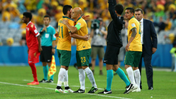 Mark Bresciano replaces Massimo Luongo in the Socceroos' win over Oman.