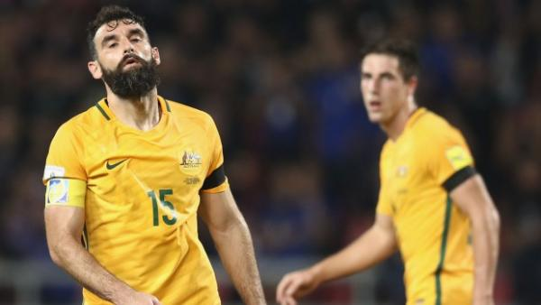 Mile Jedinak reacts during the Caltex Socceroos' draw with Thailand.