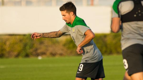 Jamie Maclaren at the Olyroos training camp in Dubai.