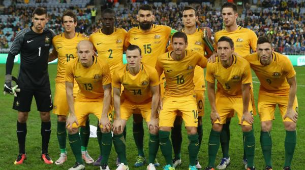 The Caltex Socceroos starting XI against Greece at ANZ Stadium on Saturday night.
