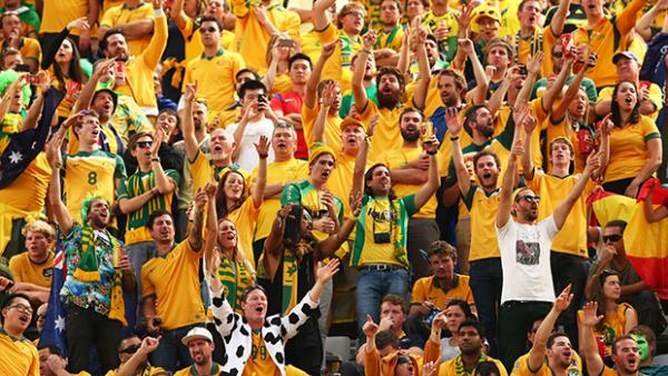 Socceroos fans supporting Australia at the FIFA World Cup.