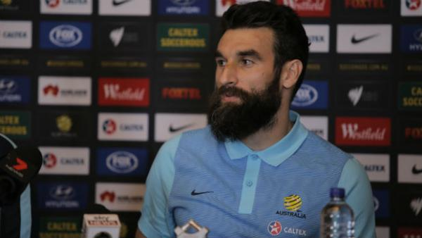 Caltex Socceroos skipper Mile Jedinak at Wednesday's press conference.