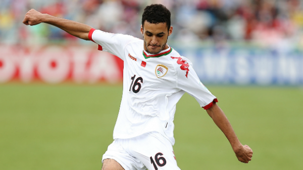 Omani Ali Sulaiman Al Busaidi on the ball against Korea Republic.
