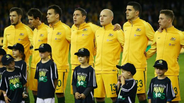 The Caltex Socceroos ahead of kick off against Greece at Etihad Stadium on Tuesday night.