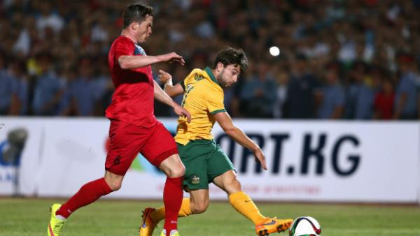 Substitute Tommy Oar scores the Socceroos second goal against Kyrgyzstan.