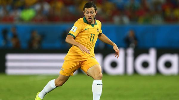 Tommy Oar in Australia's World Cup opener against Chile.