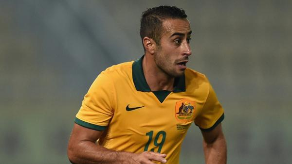 Tarek Elrich in action for the Socceroos against FYR Macedonia.