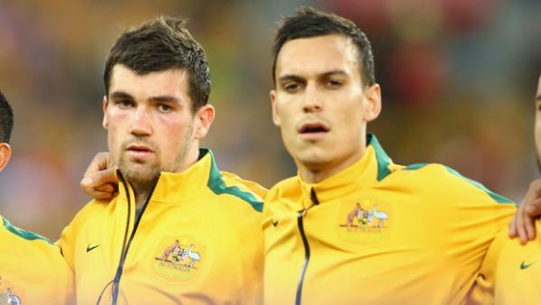 Socceroo Mat Ryan alongside teammate Trent Sainsbury.