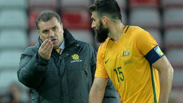 Caltex Socceroos captain Mile Jedinak receives instructions from coach Ange Postecoglou.