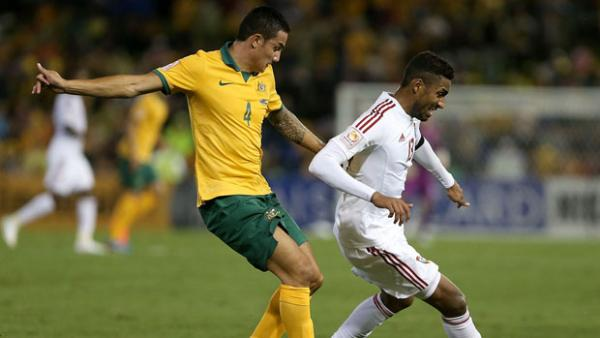 Cahill battles for possession with UAE's Khamis Esmaeel.