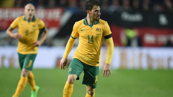 James Troisi on the ball during the Socceroos' 2-2 draw with Germany in March.