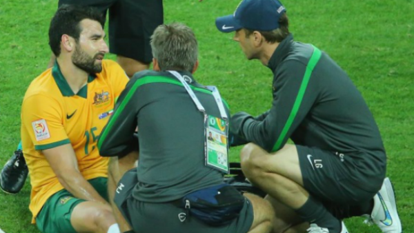 Socceroos captain Mile Jedinak after rolling his ankle against Kuwait.