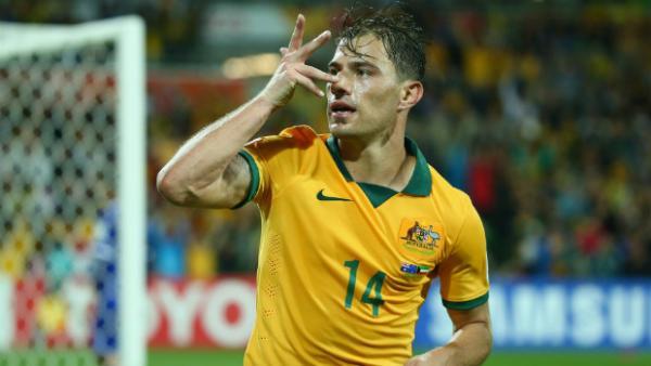 Socceroos midfielder James Troisi celebrates scoring against Kuwait.