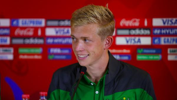 Josh Laws speaks at the pre-match press conference before Mexico