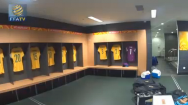 The Socceroos changeroom at Brisbane Stadium on Tuesday night.
