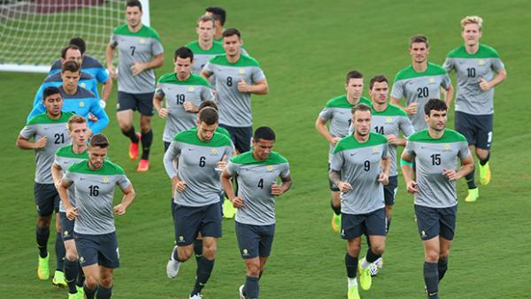 The Socceroos train in Vitoria ahead of their final World Cup clash against Spain.