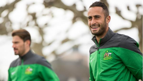 Tarek Elrich in camp with the Socceroos in Germany.