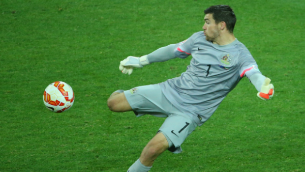 Socceroos goalkeeper Mat Ryan clears the ball against Kuwait.