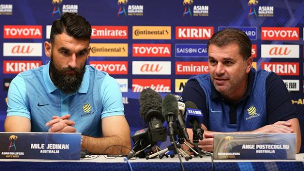 Caltex Socceroos coach Ange Postecoglou and captain Mile Jedinak address media.