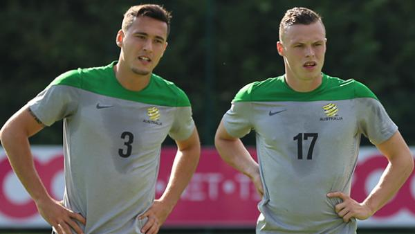 Socceroos defenders Jason Davidson and Brad Smith.