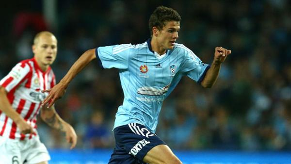 Young Socceroo striker George Blackwood in action for Sydney FC.