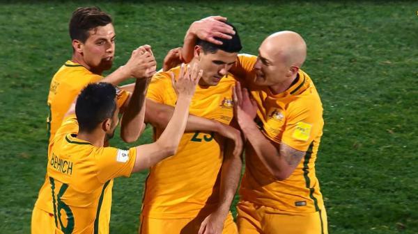 f4fa351db Australian players celebrate Tom Rogic s stunning strike in the Socceroos   3-2 win over