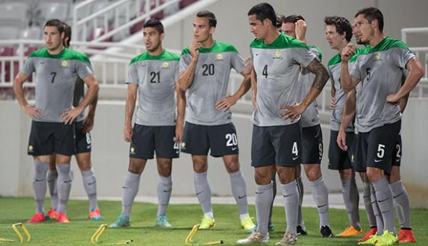 The Socceroos in training in Doha ahead of match against Qatar.