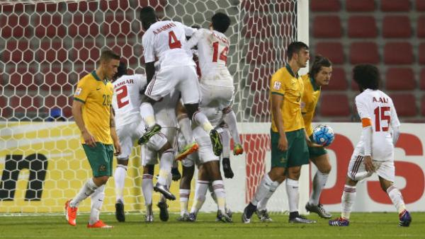 The UAE celebrate opening the scoring against the Olyroos at the AFC U-23 Championship.