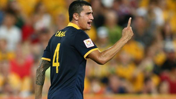 Cahill gestures during the Socceroos' 1-0 loss to Korea Republic.