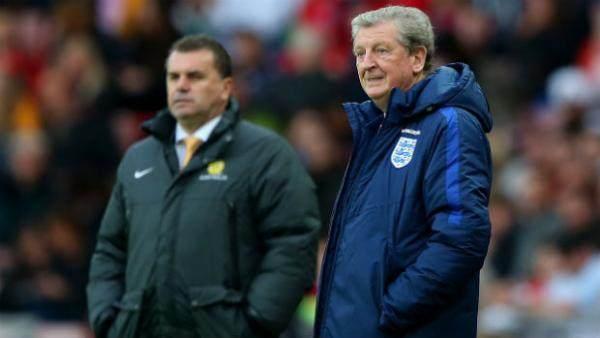 England boss Roy Hodgson and Socceroos coach Ange Postecoglou on the sideline at the Stadium of Light.