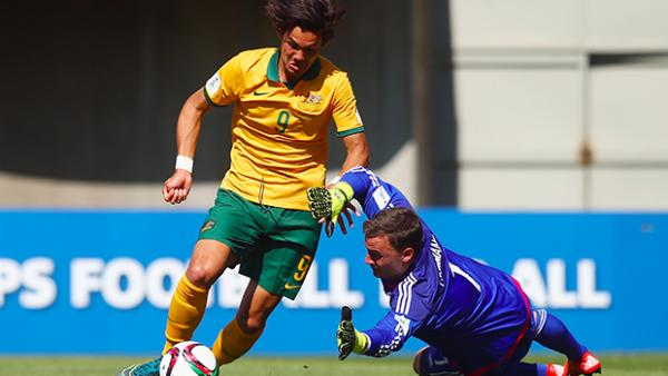 Pierce Waring attempts to round the German keeper in the Joeys' opening FIFA U-17 World Cup match