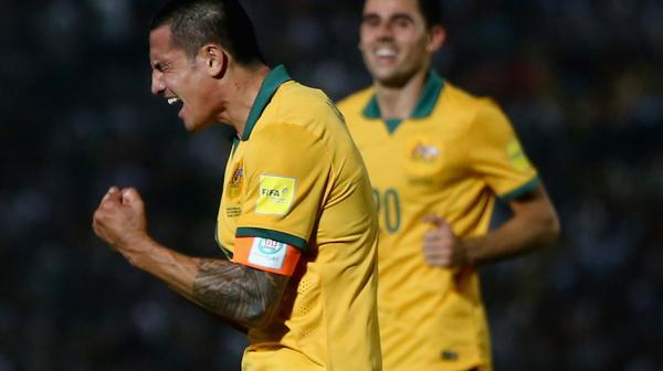 Captain Cahill shows his emotion after scoring his second goal close to full-time, the Socceroos running out 3-0 winners.